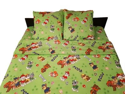 Lenjerie de pat copii Patrula Catelusilor verde