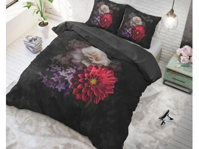Lenjerie de pat dubla Elegant Flower Black, 3 Piese, Bumbac