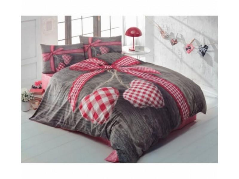 Lenjerie de pat doua persoane Bumbac Ranforce LoveBox - Red