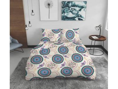 Lenjerie de pat pentru doua persoane Circles, 4 Piese, Bumbac
