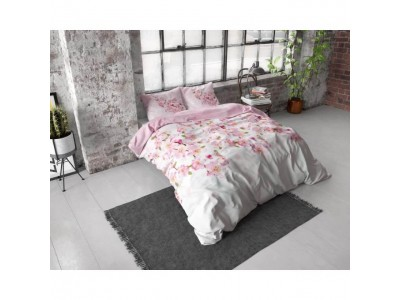 Lenjerie dubla Sweet Pink Flowers, Bumbac Flanel