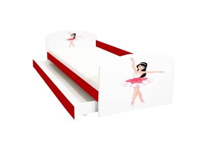 Pat copii cu sertar Balerina rosie