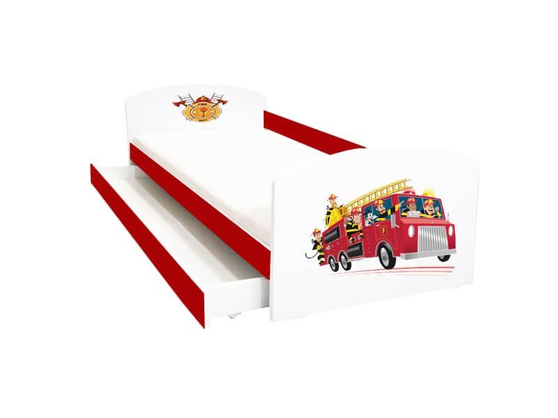 Pat copii cu sertar Pompieri