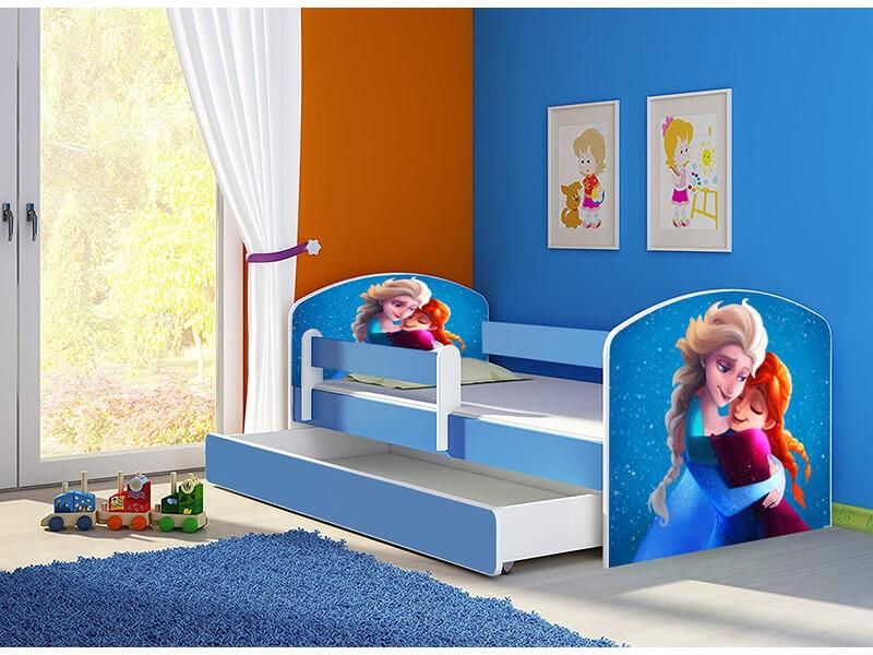 Pat copii cu sertar si saltea Anna si Elsa