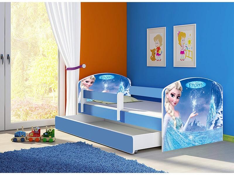 Pat copii cu sertar si saltea Frozen Elsa