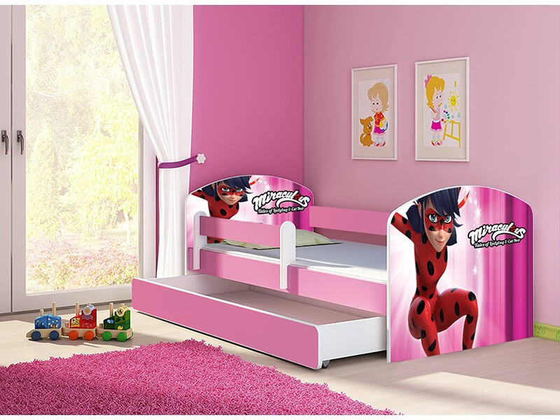 Pat copii cu sertar si saltea Miraculous Ladybug