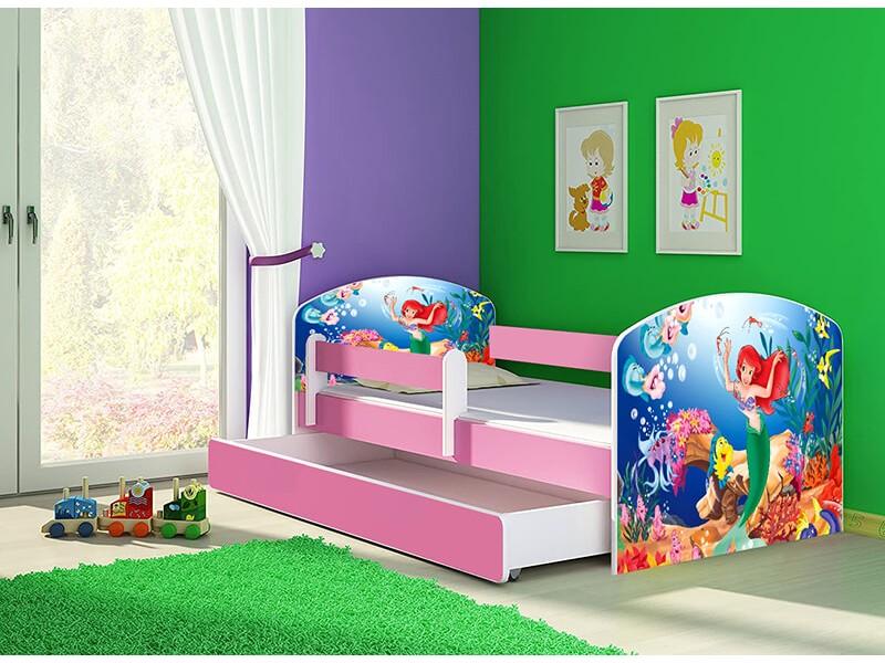 Pat copii cu sertar si saltea Mica Sirena