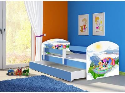 Pat copii cu sertar si saltea Mickey si Minnie Mouse albastru
