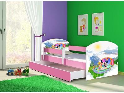 Pat copii cu sertar si saltea Mickey si Minnie Mouse roz