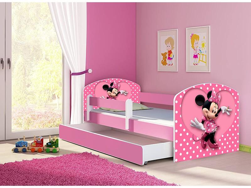 Pat copii cu sertar si saltea Minnie Mouse