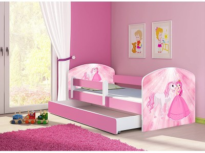 Pat copii cu sertar si saltea Poney Princess