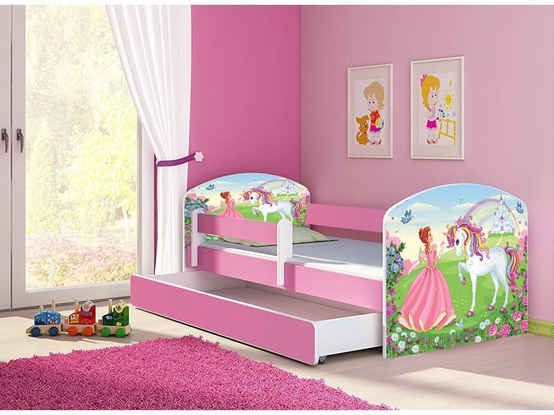 Pat copii cu sertar si saltea Princess Unicorn