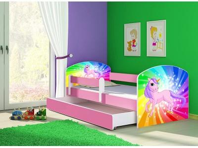 Pat copii cu sertar si saltea Unicorn