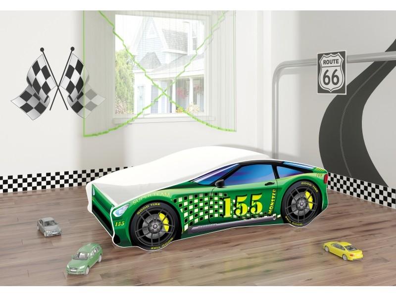 Pat copii masina Green cu saltea