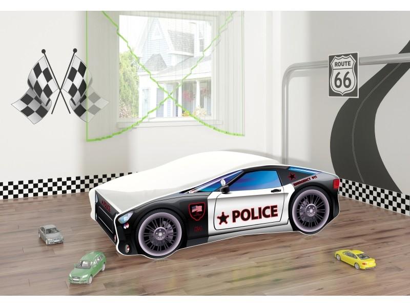 Pat copii masina Police cu saltea